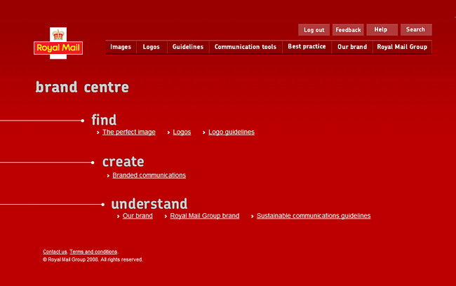 Royal Mail Brand Centre Homepage